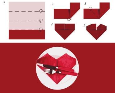 origami, vika servetter, servetter, hjärta, duka, bord, bordsdukning, middag, bjudning