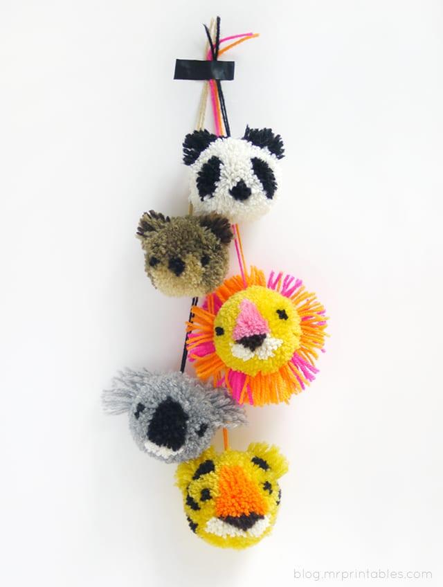 djur av garnbollar, exotiska djur, lejonhuvud, pandahuvud