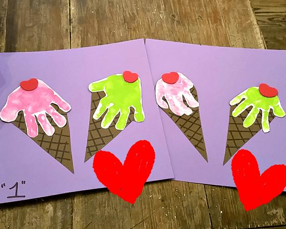 pyssel, barnpyssel, måla med händer, handavtryck, glassar