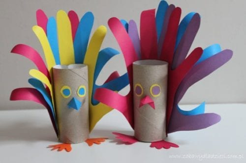 Fågel av toarulle, handavtryck, pyssel med handavtryck