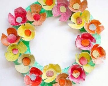 äggkartong, återbruk, pyssel, pysseltips, pyssla, skapa, göra blomsterkrans