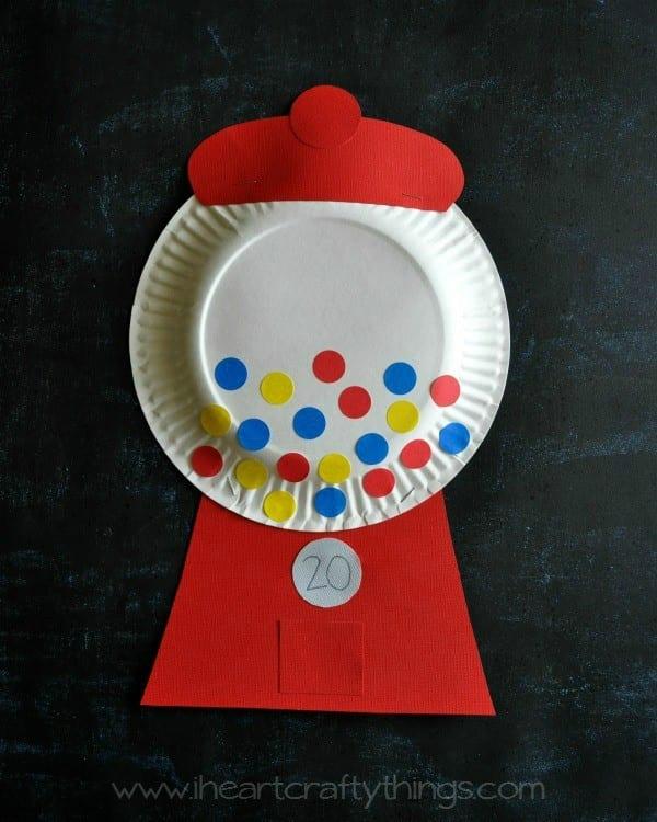 pyssel, pysseltips, pyssla, skapa, barnpyssel, pyssel för barn, papperstallrik, godisautomat, tuggummiautomat