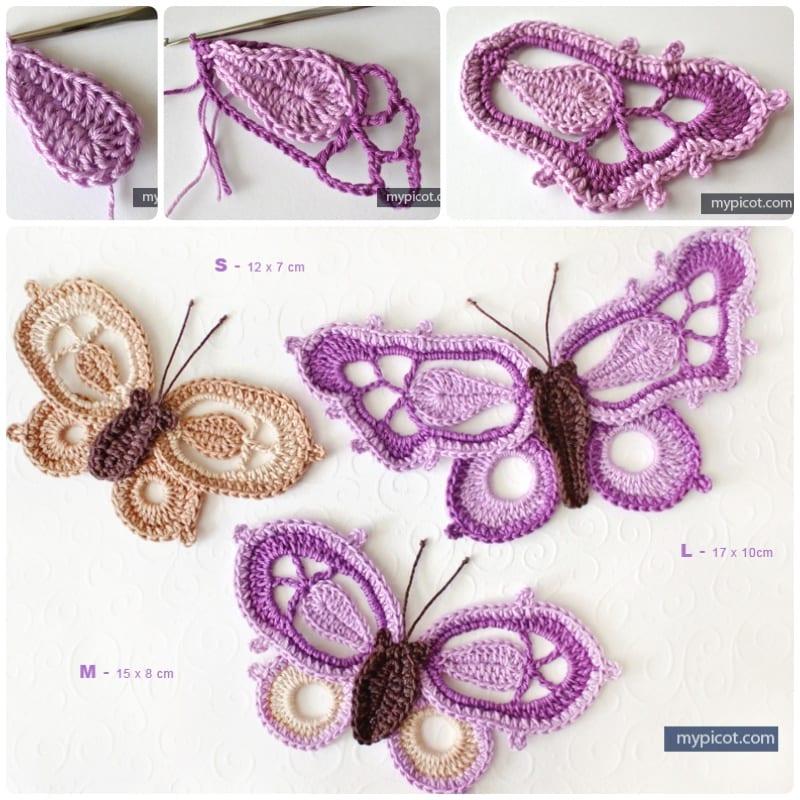 virka, virka fjärilar, pyssel, pysseltips, skapa