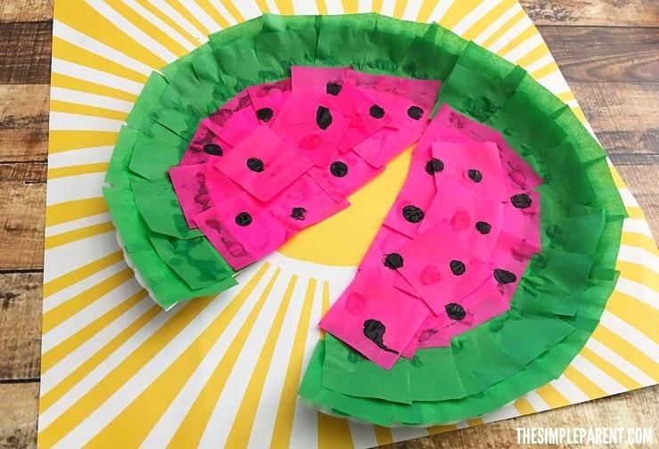 pyssel, pysseltips, pyssla, skapa, barnpyssel, pyssel för barn, papperstallrik , vattenmelon, melon, frukt