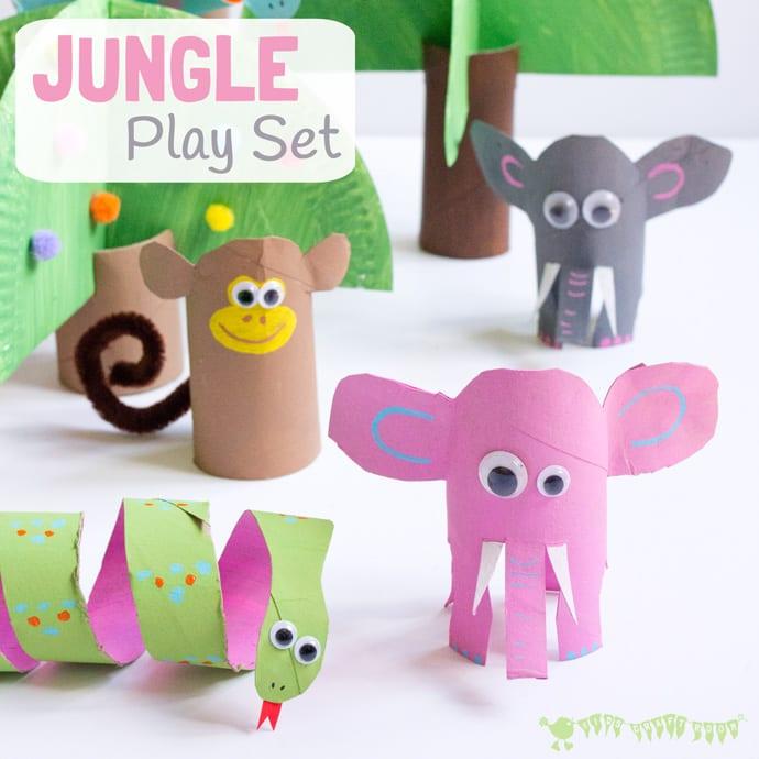 barnpyssel, pyssel för barn, pyssel, enkelt pyssel, pysseltips, pysselidé, toarulle, pyssla med toarullar, djungeldjur, elefant, apa, orm