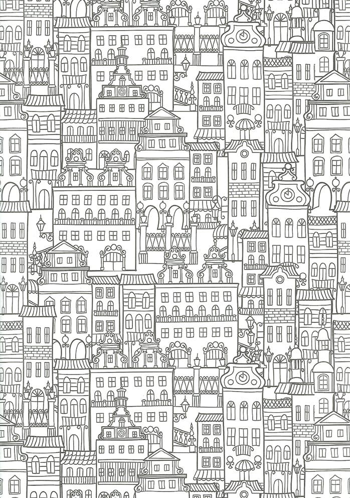 målarbilder, målarbild, gratis målarbilder, gratis målarbild, målarbok, målarböcker, målarbok för vuxna, målarböcker för vuxna, zentangle, mandala, mindfulness, måla, färglägga, mindfullness, doodle, bättre hälsa, bra hälsa, stad, hus, byggnader