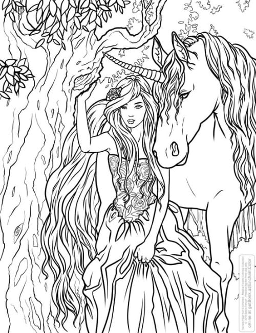 unicorn faerie coloring pages - photo#18