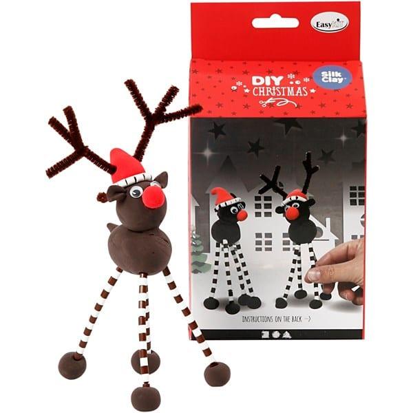 pyssel, pyssla, pysseltips, pysselidé, skapa, barnpyssel, familjepyssel, pyssel för barn, bättre hälsa, bra hälsa, må bra, kreativitet, skapande, skaparglädje, julpyssel, jul, ren, Rudolf med röda mulen, Silk Clay, piprensare, rörpärlor