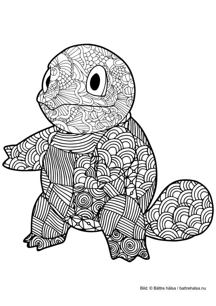 Målarbild för vuxna – färglägg Pokémon! Squirtle