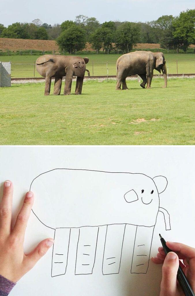 barns fantasi, kreativitet, elefant, barn, familj, förälder