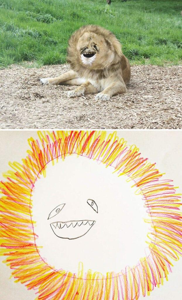 barns fantasi, kreativitet, barn, familj, förälder, lejon