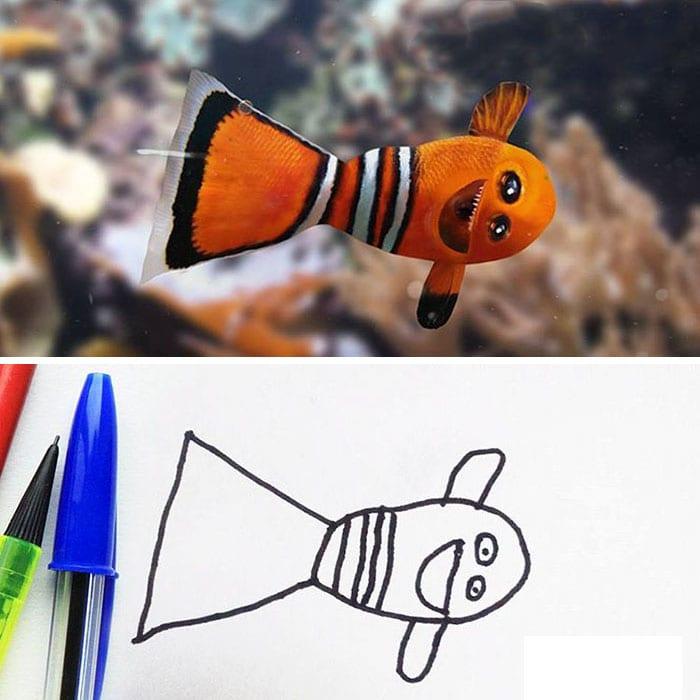 barns fantasi, kreativitet, barn, familj, förälder, fisk, Hitta Nemo, Hitta Doris, clownfisk