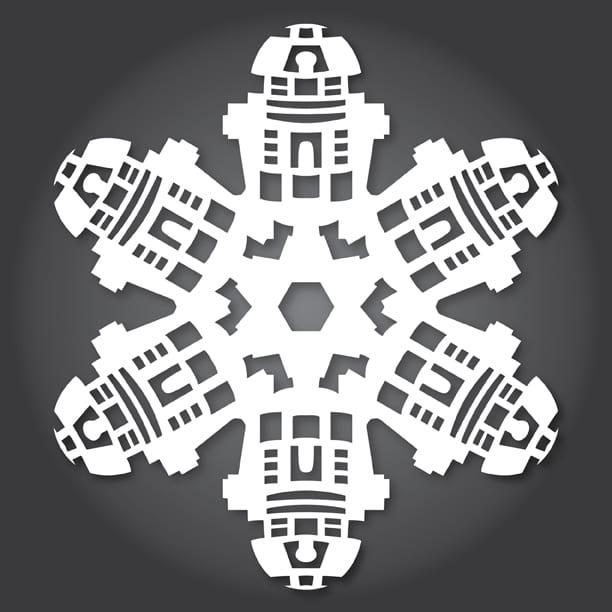 pyssel, pysseltips, pysselidé, inspiration, kreativitet, skapa, skapande, barns skapande, vinter, vinterpyssel, pyssla, pyssel för barn, barnpyssel, pyssel för skola, pyssel för förskola, familjepyssel, Star Wars, pyssel med Star Wars, snöflinga, klippa, sax, papper, papperspyssel, robot, R2-D2