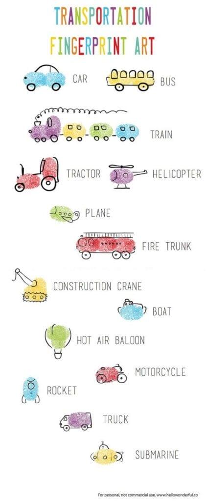 pyssel, pyssla, pysseltips, pysselidéer, barn, barnpyssel, pyssel för barn, enkelt pyssel, avtryck, fingeravtyck, skola, förskola, fritids, skapa, skapande, kreativitet, fordon, transportmedel, bil, bilar, brandbil, båt, lastbil, lyftkran, luftballong