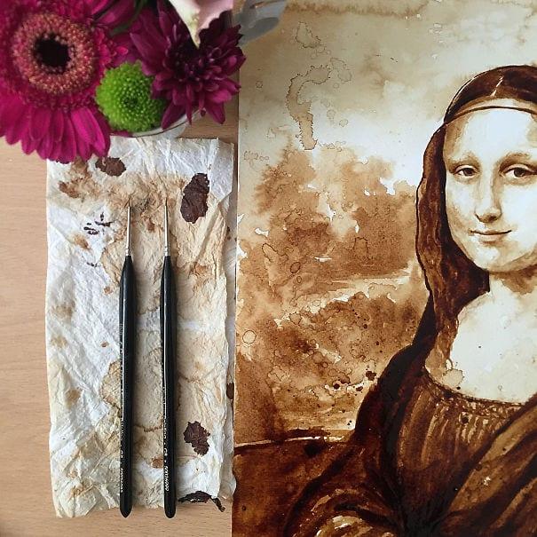 måla med kaffe, Mona Lisa, Leonardo da Vinci, tolkning av Mona Lisa, parafras, kaffemålning