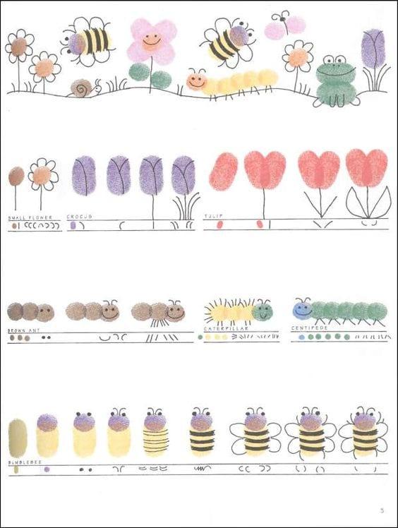 pyssel, pyssla, pysseltips, pysselidéer, barn, barnpyssel, pyssel för barn, enkelt pyssel, avtryck, fingeravtyck, skola, förskola, fritids, skapa, skapande, kreativitet, natur, larver, blomma, blommor, bi, insekter, tusenfoting