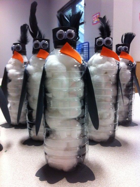 pyssel, pysseltips, pysselidé, inspiration, kreativitet, skapa, skapande, barns skapande, vinter, vinterpyssel, pyssla, pyssel för barn, barnpyssel, pyssel för skola, pyssel för förskola, familjepyssel, pingvin, pingvinpyssel, flaska, PET, PET-flaska, plastflaska, återbruk