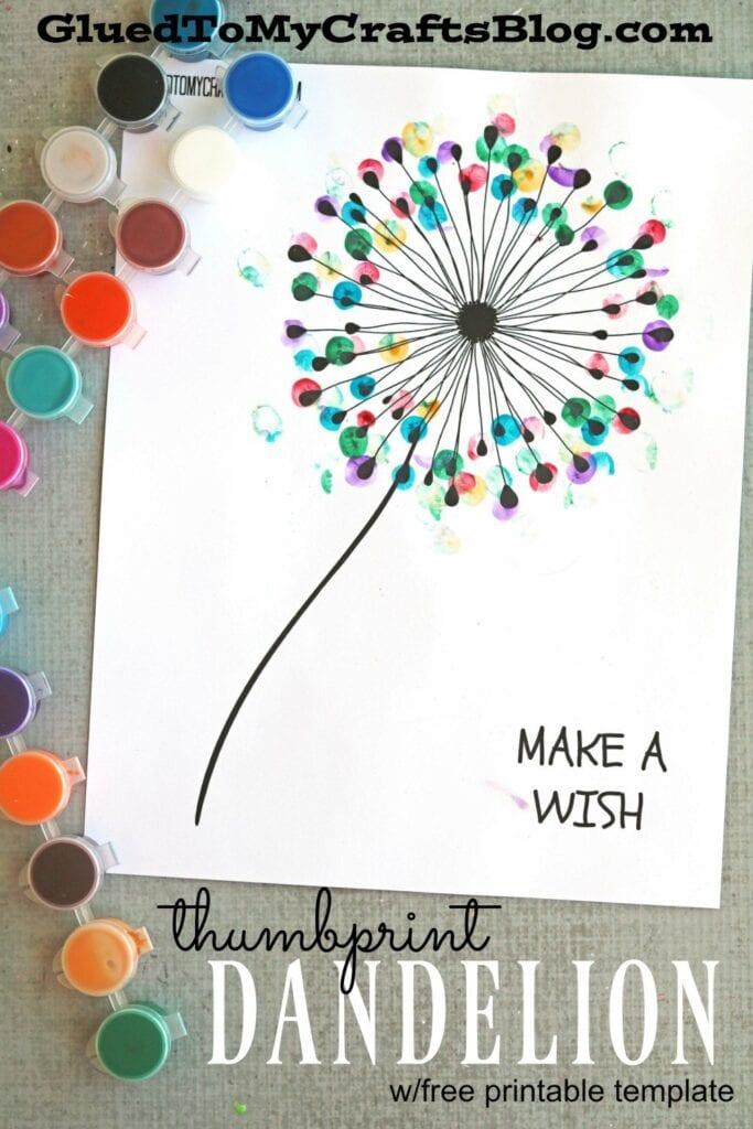 pyssel, pyssla, pysseltips, pysselidéer, barn, barnpyssel, pyssel för barn, enkelt pyssel, avtryck, fingeravtyck, skola, förskola, fritids, skapa, skapande, kreativitet, maskros, make a wish, maskrosor, blomma, blommor