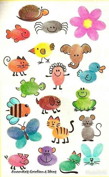 pyssel, pyssla, pysseltips, pysselidéer, barn, barnpyssel, pyssel för barn, enkelt pyssel, avtryck, fingeravtyck, skola, förskola, fritids, skapa, skapande, kreativitet, figurer, roliga figurer, djur, gubbe, gubbar, blomma, blommor