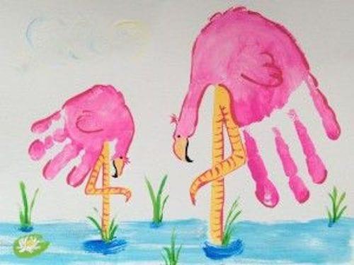 pyssel, pyssla, pysseltips, pysselidéer, barn, barnpyssel, pyssel för barn, enkelt pyssel, avtryck, handavtryck, skola, förskola, fritids, skapa, skapande, kreativitet, flamingo, fågel, rosa, rosa fågel, fåglar