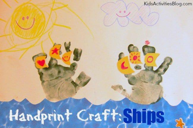 pyssel, pyssla, pysseltips, pysselidéer, barn, barnpyssel, pyssel för barn, enkelt pyssel, avtryck, handavtryck, skola, förskola, fritids, skapa, skapande, kreativitet, skepp, båt, båtar