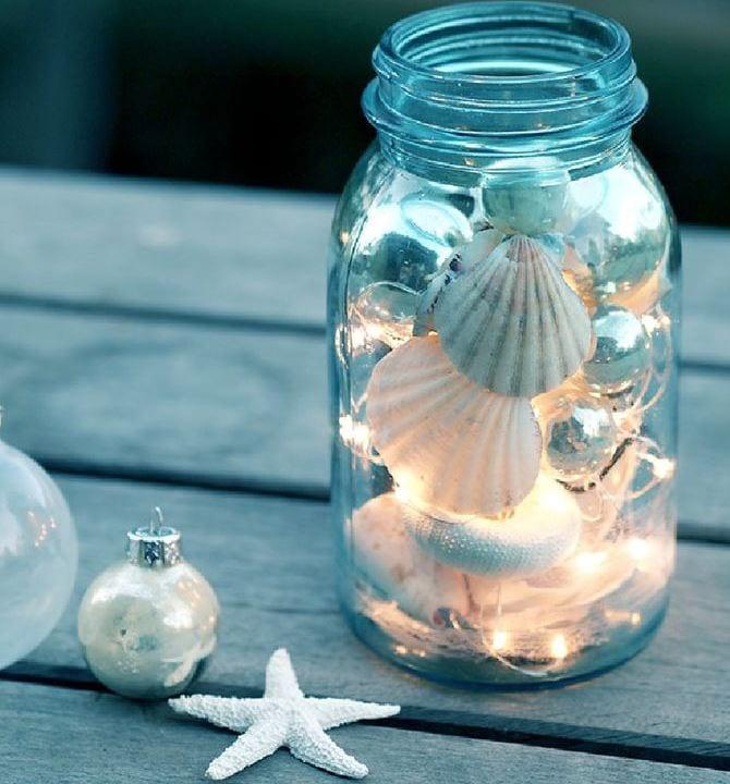 glasburk, glasburkar, mason jars, burk, förvaring, pyssel, pysseltips, pyssla, inredning, pysselidé, idé, idéer, skapa, tips, inspiration, ljusslinga, snäcka, snäckor, lampa, julgranskulor