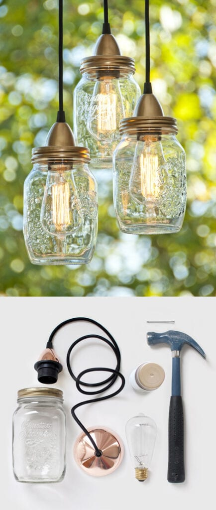 glasburk, glasburkar, mason jars, burk, förvaring, pyssel, pysseltips, pyssla, inredning, pysselidé, idé, idéer, skapa, tips, inspiration, lampa, lampor, hänglampor, industri, industridesign