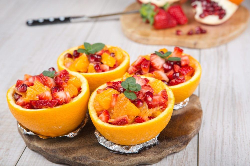 frukt, sallad, grape, frukt, recept, grapefrukt, apelsin, jordgubbe, jordgubbar, granatäpple, enkel fruktsallad, fräsch fruktsallad