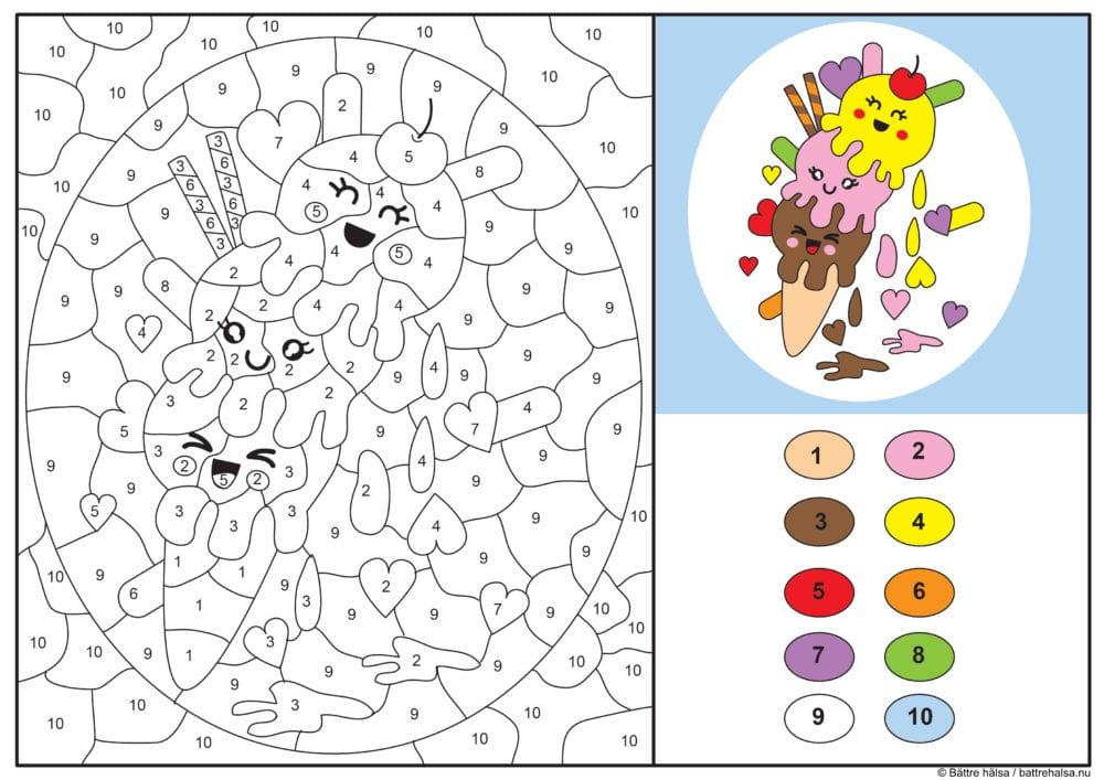 knep, knåp, knep och knåp, knep & knåp, förskola, skola fritids, barnpyssel, pyssel, pyssel för barn, pyssla och lek, lär dig räkna, räkna, dra streck mellan siffror, dra streck, nummer, siffror, lära sig räkna till 10, lära sig räkna till tio, matte, matematik, mattepyssel, måla efter numren, färglägga, färglägga efter siffrorna, målarbild, målarbild för barn, bilder att färglägga, glass, kulglass, strut, glasstrut