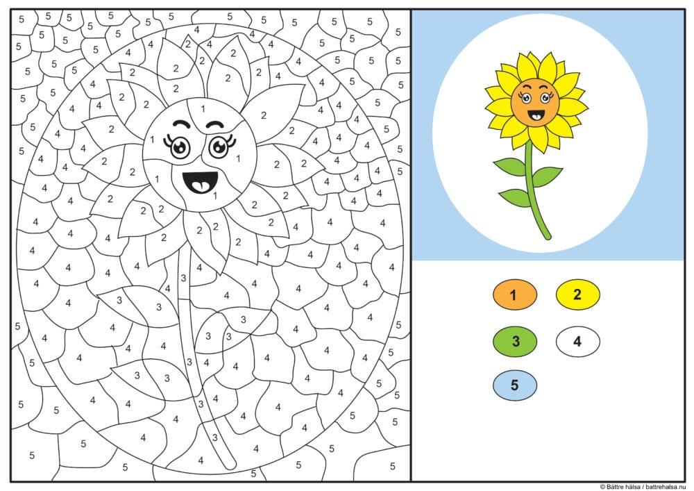 knep, knåp, knep och knåp, knep & knåp, förskola, skola fritids, barnpyssel, pyssel, pyssel för barn, pyssla och lek, lär dig räkna, räkna, dra streck mellan siffror, dra streck, nummer, siffror, lära sig räkna till 100, lära sig räkna till fem, matte, matematik, mattepyssel, måla efter numren, färglägga, färglägga efter siffrorna, solros, målarbild, målarbild för barn, bilder att färglägga