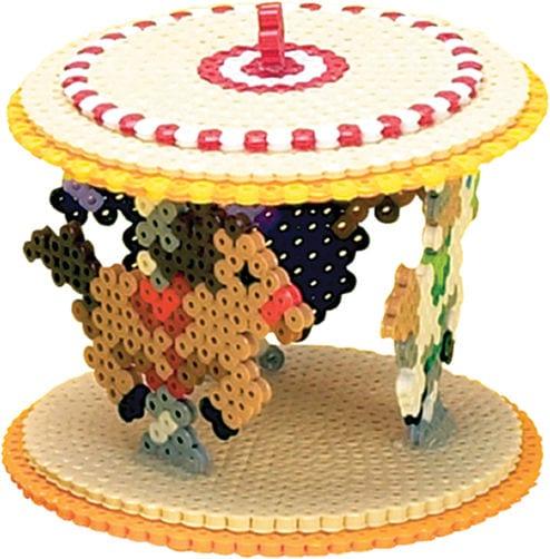pärla, pärlplatta, pärlplattor, mönster, pärlplattemönster, 3D, karusell, tivoli, häst, karusellhäst