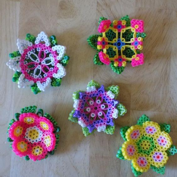 pärla, pärlplatta, pärlplattor, mönster, pärlplattemönster, 3D, blomma, blommor