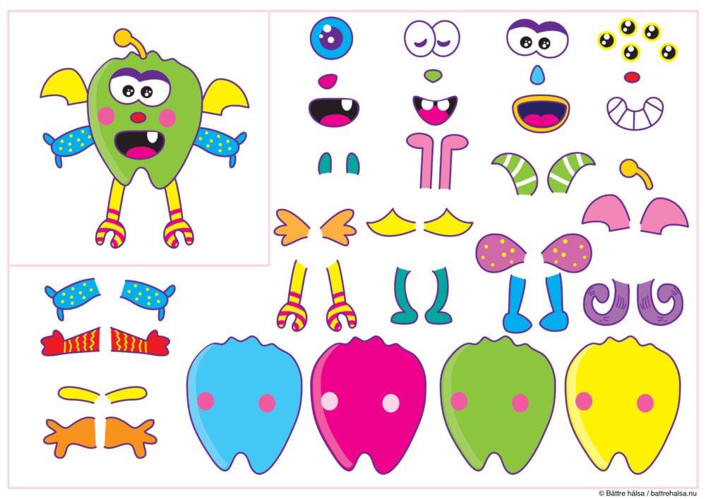knep och knåp, pyssla och lek, barn, skola, förskola, fritids, pyssel, barnpyssel, pyssel för barn, klippa ut delar, finmotorik, monsterset, göra ett monster, skapa monster
