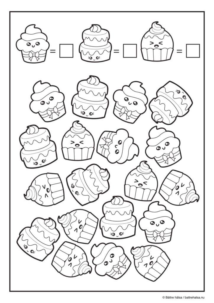 lära sig räkna, räkna, matte, pyssla och lek, bättre hälsa, pyssel för barn, barnpyssel, matte, matematik, mattepyssel, pyssel, knep och knåp, cupcake, tårta, bakverk, bakelser, måla, målarbilder, målarbild för barn