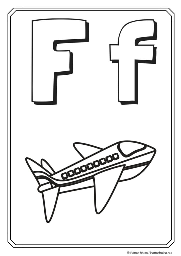 aktiviteter för barn, barnaktiviteter, pyssla och lek, knep och knåp, måla, färglägg, målarbild, alfabetet, bokstaven F