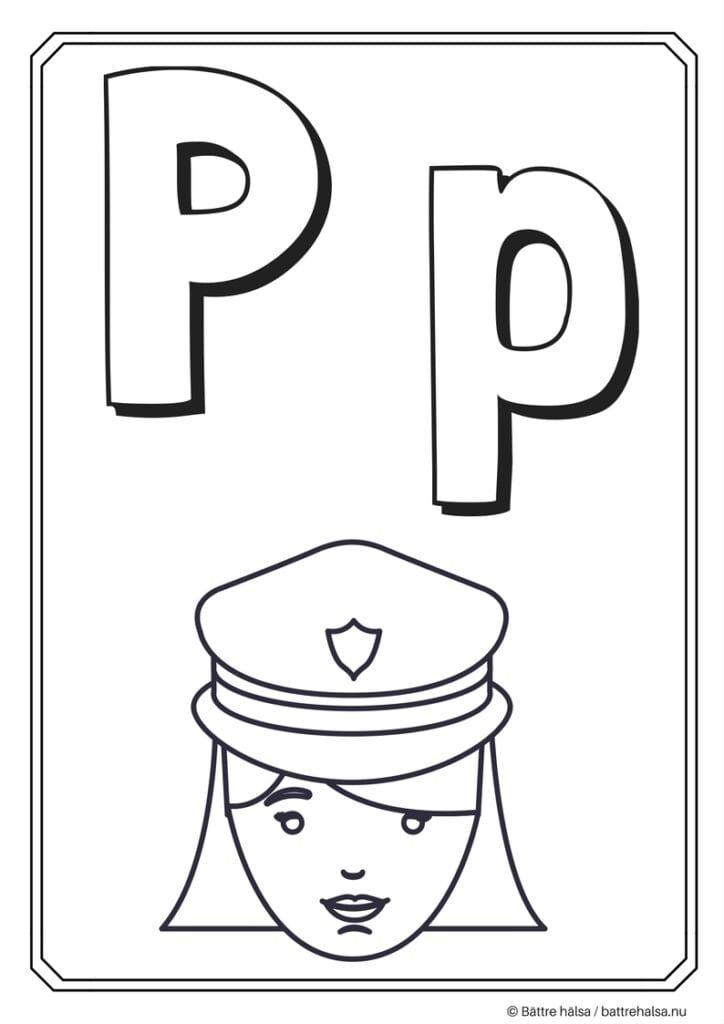aktiviteter för barn, barnaktiviteter, pyssla och lek, knep och knåp, måla, färglägg, målarbild, alfabetet, bokstaven P