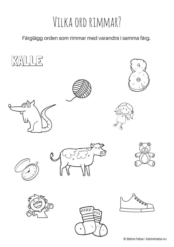 aktiviteter för barn, barnaktiviteter, pyssla och lek, knep och knåp, lära sig ord, lära sig skriva, lära sig läsa, rimma, rim, ord som rimmar, färglägg, måla