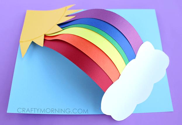 pyssel, barnpyssel, pyssel för barn, aktiviteter, regnbåge, regnbågar, regnbågspyssel, papper, papperspyssel, färgade papper, regnbåge i 3D