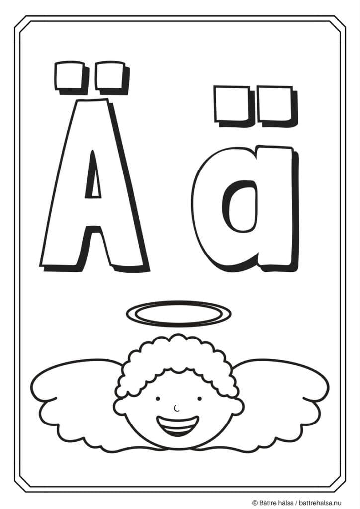 aktiviteter för barn, barnaktiviteter, pyssla och lek, knep och knåp, måla, färglägg, målarbild, alfabetet, bokstaven Ä