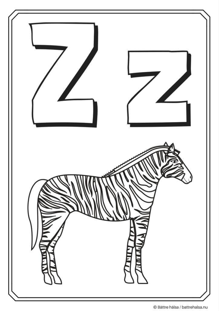aktiviteter för barn, barnaktiviteter, pyssla och lek, knep och knåp, måla, färglägg, målarbild, alfabetet, bokstaven Z