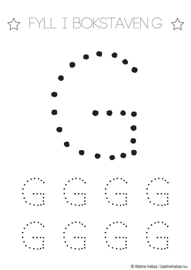 aktiviteter för barn, barnaktiviteter, pyssla och lek, knep och knåp, lära sig skriva, lära sig alfabetet, lära sig bokstaven G