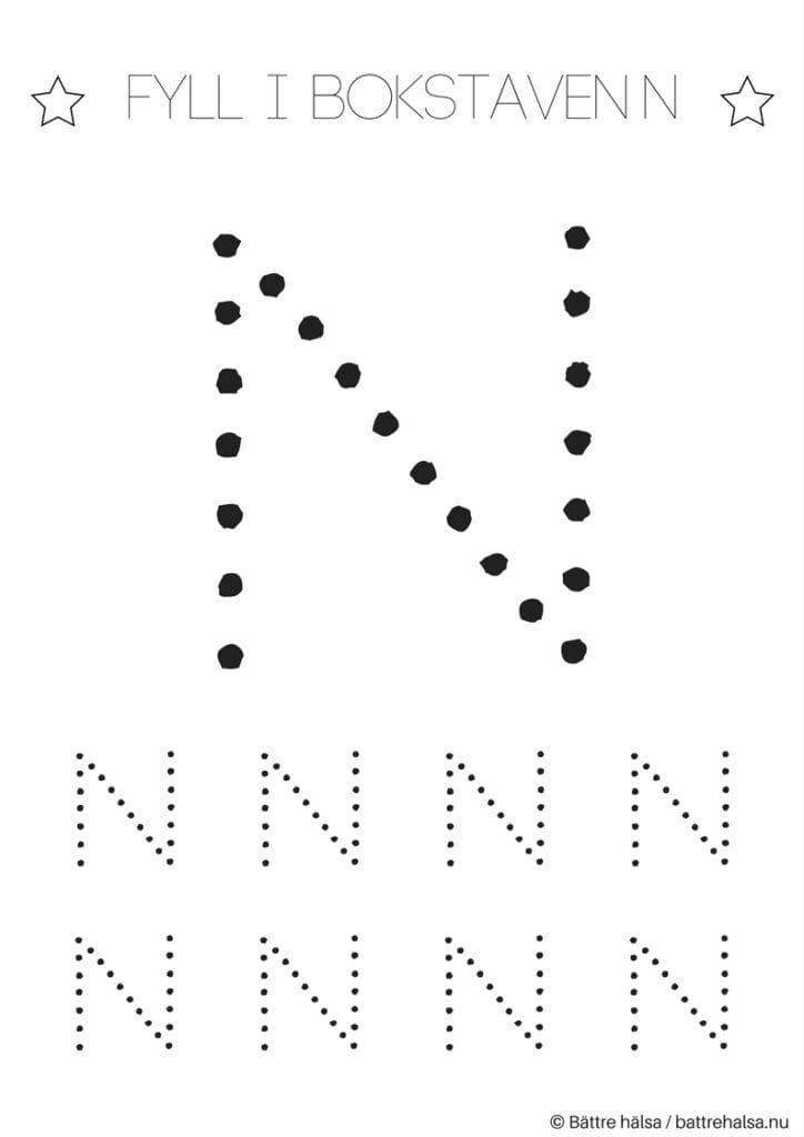 aktiviteter för barn, barnaktiviteter, pyssla och lek, knep och knåp, lära sig skriva, lära sig alfabetet, lära sig bokstaven N