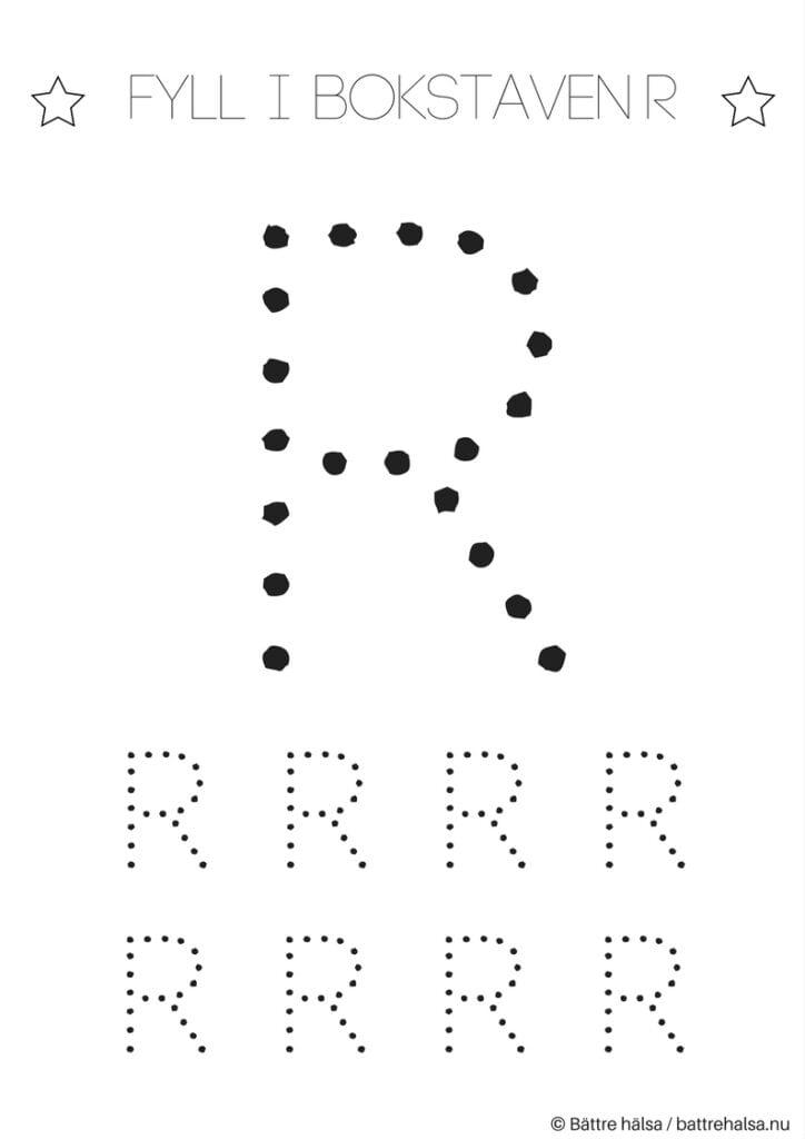 aktiviteter för barn, barnaktiviteter, pyssla och lek, knep och knåp, lära sig skriva, lära sig alfabetet, lära sig bokstaven R
