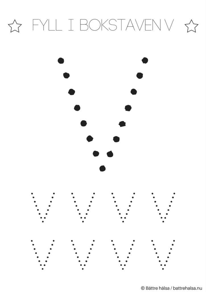 aktiviteter för barn, barnaktiviteter, pyssla och lek, knep och knåp, lära sig skriva, lära sig alfabetet, lära sig bokstaven V