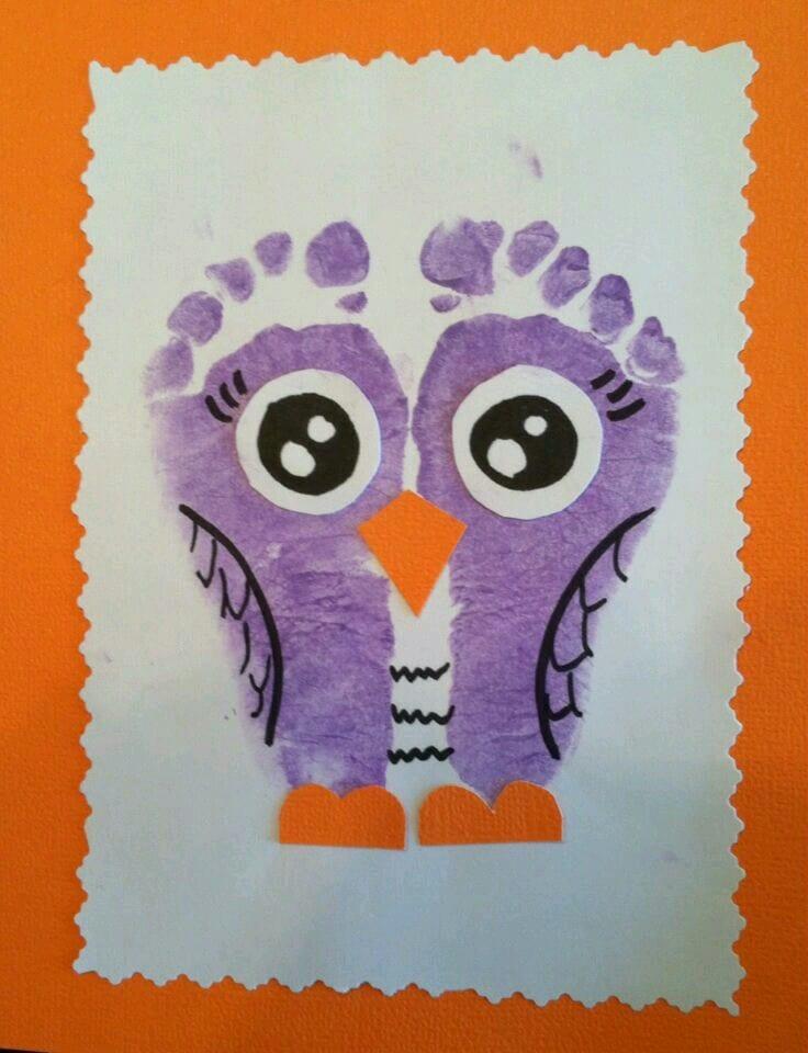 pyssel, pysseltips, pysselidé, barnpyssel, pyssel för barn, uggla, ugglor, fotavtryck, avtryck, måla, målarfärg, hobbyfärg