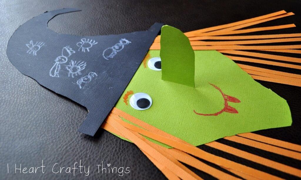 pyssel, pysseltips, pysselidé, barnpyssel, pyssel för barn, halloween, halloweenpyssel, skapa, häxa, halloweenhäxa, papper, papperspyssel