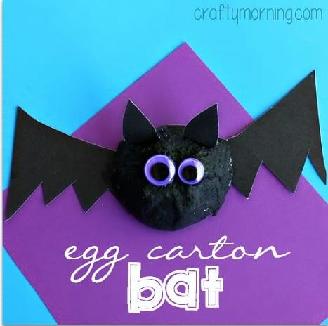 pyssel, pysseltips, pysselidé, barnpyssel, pyssel för barn, halloween, halloweenpyssel, skapa, fladdermöss, fladdermus, äggkartong, pyssla med äggkartonger