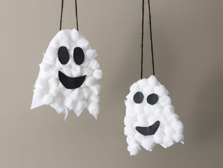 pyssel, pysseltips, pysselidé, barnpyssel, pyssel för barn, halloween, halloweenpyssel, skapa, spöken, halloweenspöken, pyssla med bomull