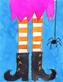 pyssel, pysseltips, pysselidé, barnpyssel, pyssel för barn, halloween, halloweenpyssel, skapa, häxa, halloweenhäxa, häxben, ben, skor, häxskor