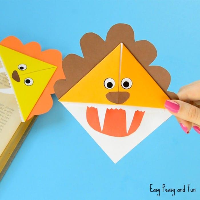 pyssel, pysseltips, pysselidé, barnpyssel, pyssel för barn, origami, vika papper, vika bokmärke, vika hörnbokmärke, lejon